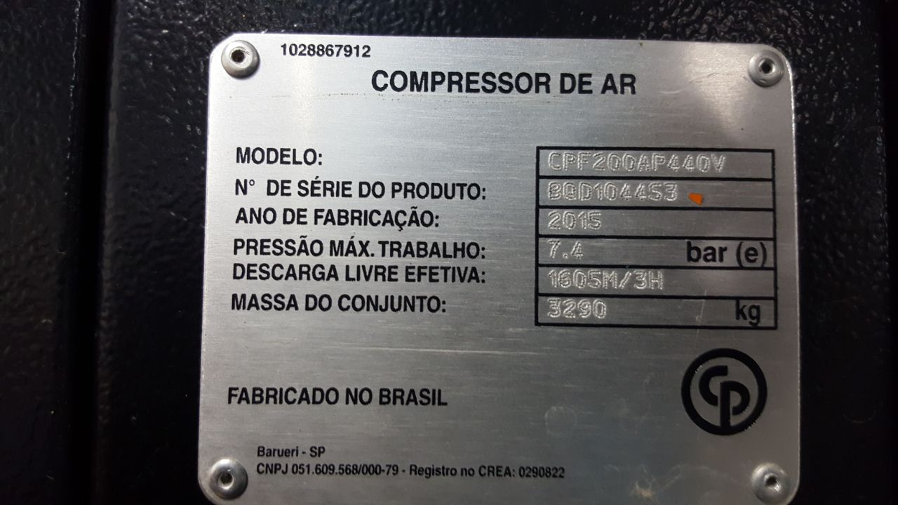 Kit Compressor de Ar Parafuso Chicago CPF200